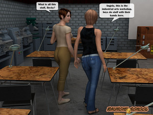 A fucking machine workshop for two hotties from Raunchyschool 3D Adult Comics
