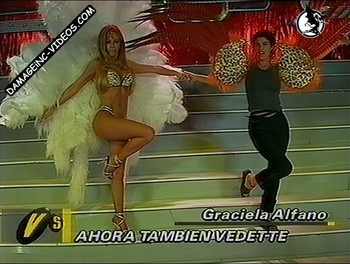 Graciela Alfano hot legs and bra as showgirl